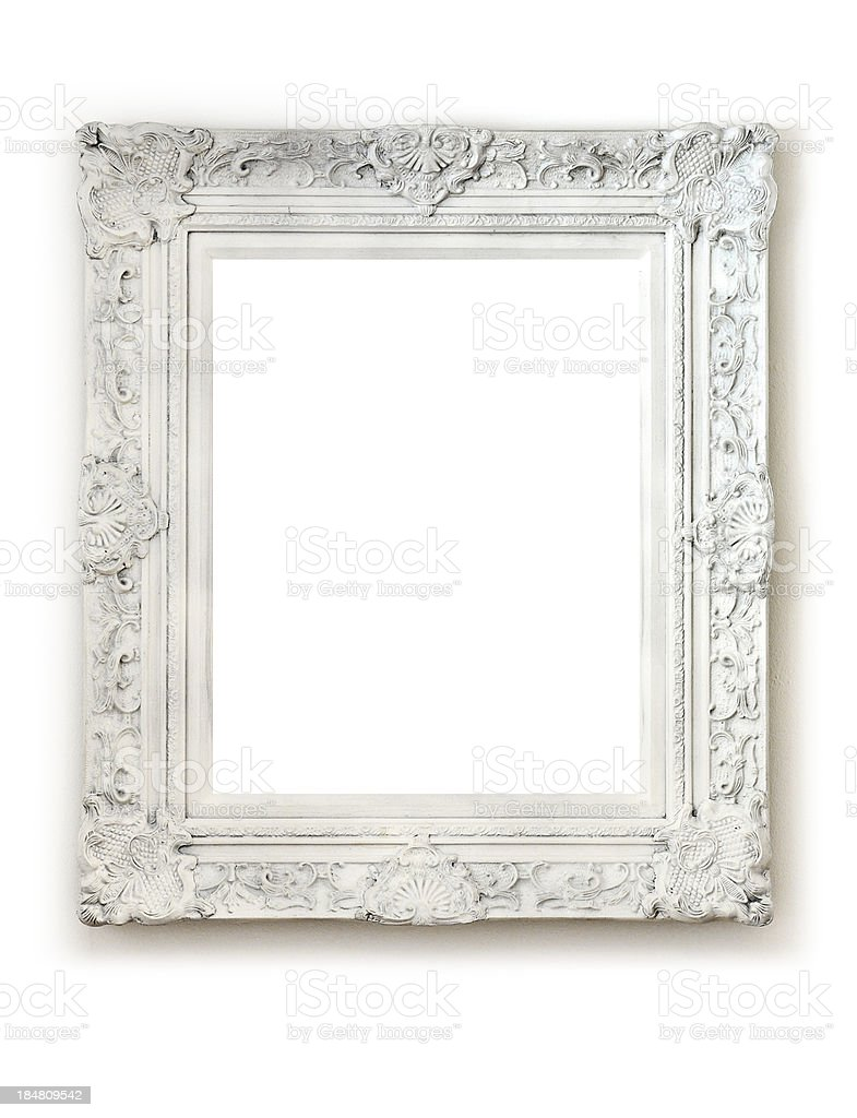 Vintage empty frame on white wall stock photo
