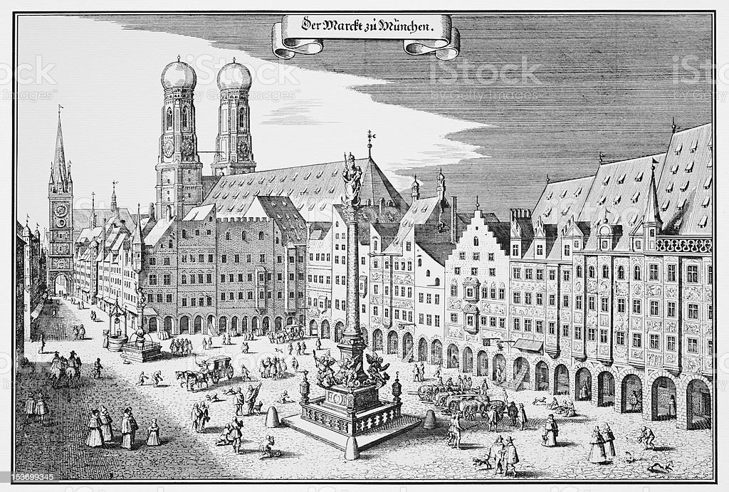 Vintage engraving of Munich Marketplace stock photo