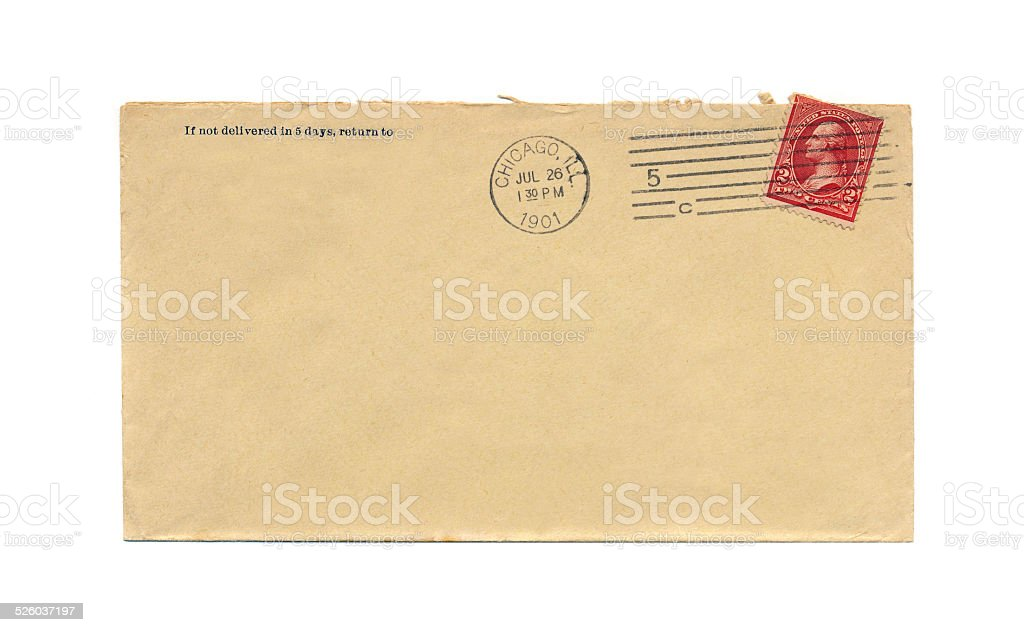 Vintage envelope and postage from 1901 stock photo