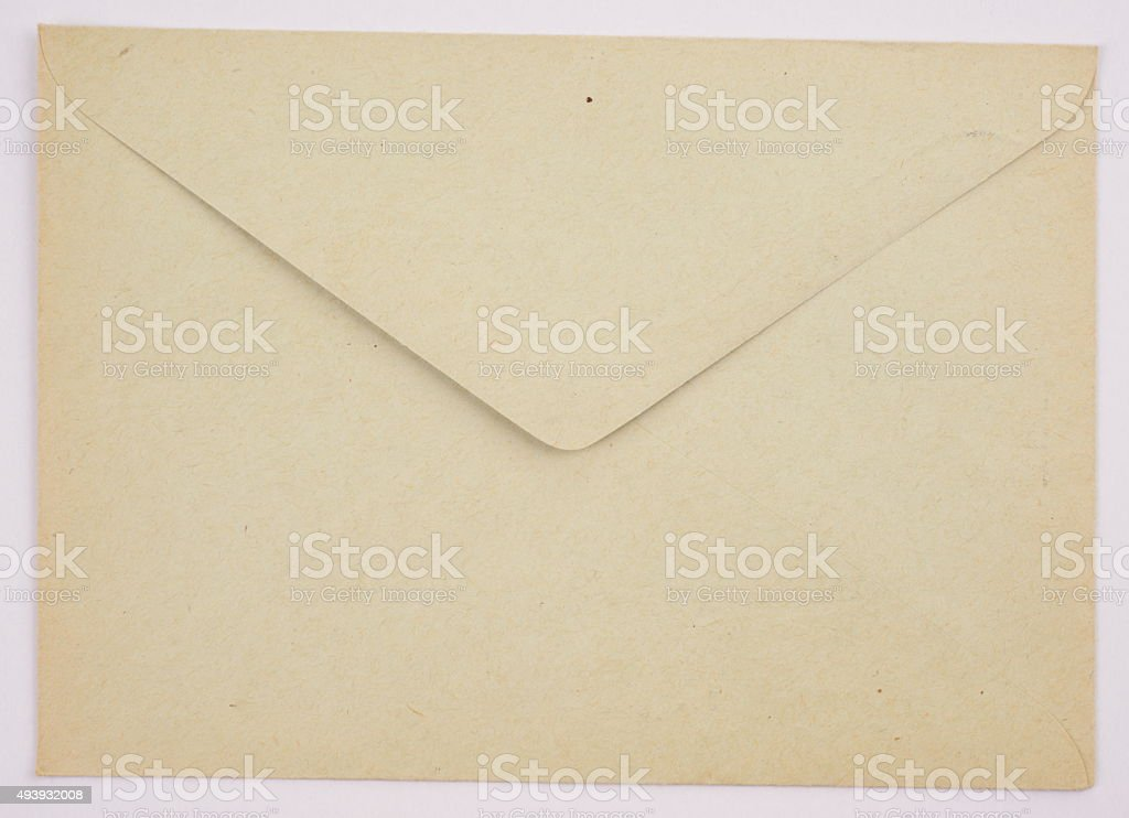 Vintage envelope clean gray color on a white background stock photo