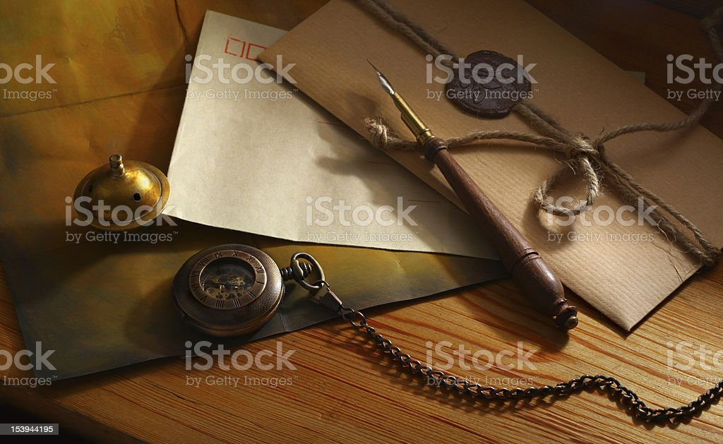 Vintage envelope for letter with seal stock photo