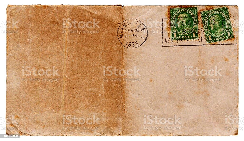Vintage Envelope Front-1938 royalty-free stock photo