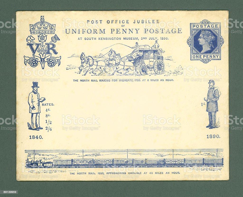 Vintage envelope, Great Britain, 1890 royalty-free stock photo