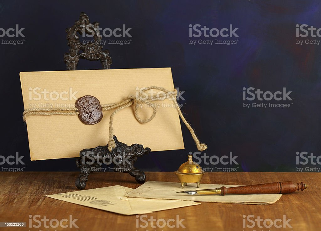 Vintage envelope with stamp. royalty-free stock photo