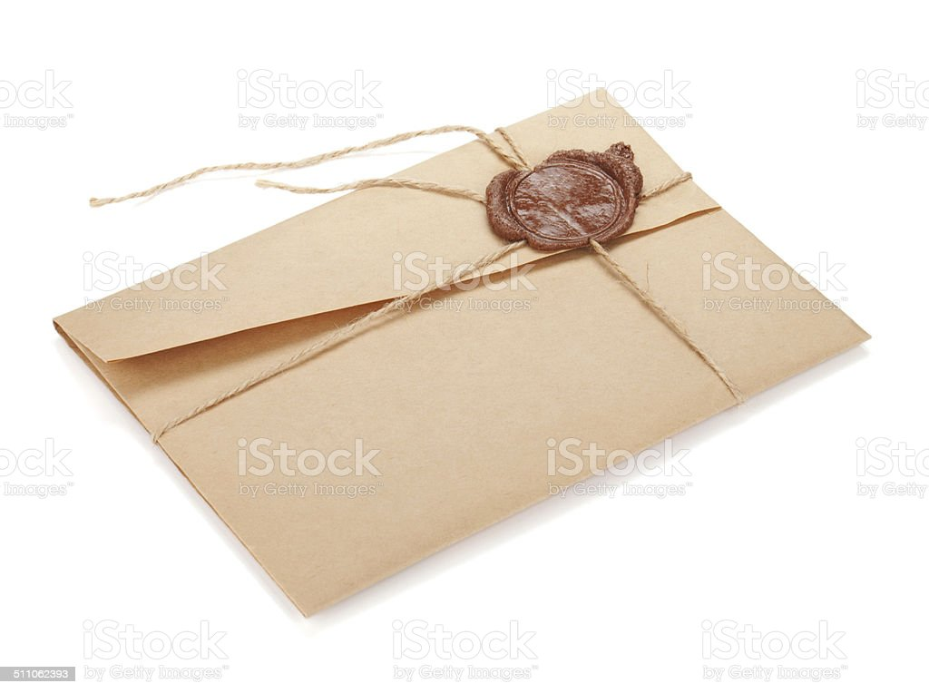 Vintage envelope with stamp stock photo