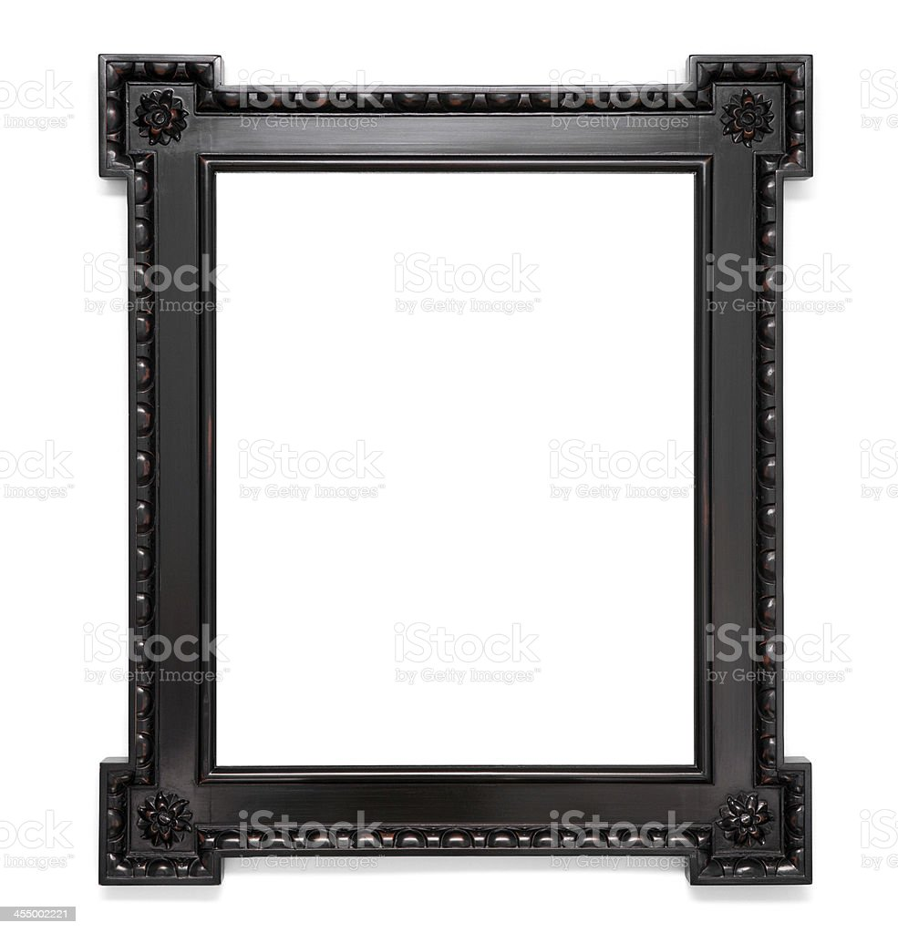 Vintage Espresso Colored Wood Frame Isolated on White stock photo