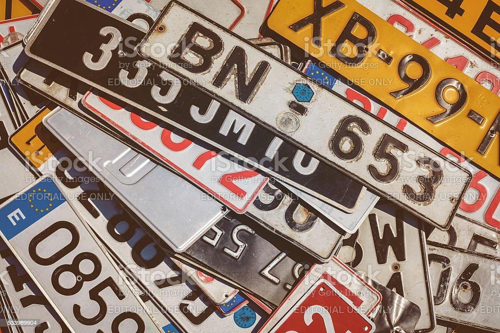 Vintage European car license plates stock photo