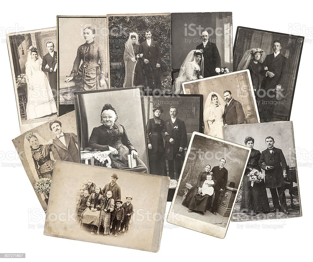 vintage family and wedding photos. original old pictures stock photo
