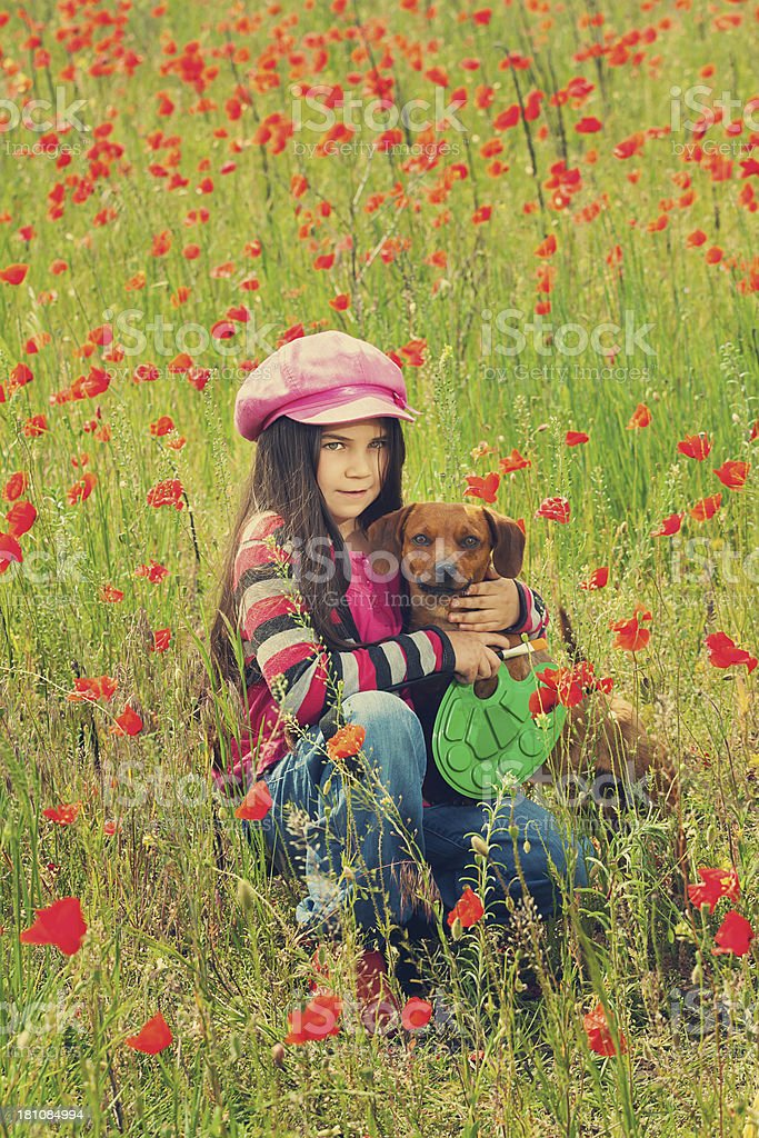 Vintage family on the poppy meadow royalty-free stock photo