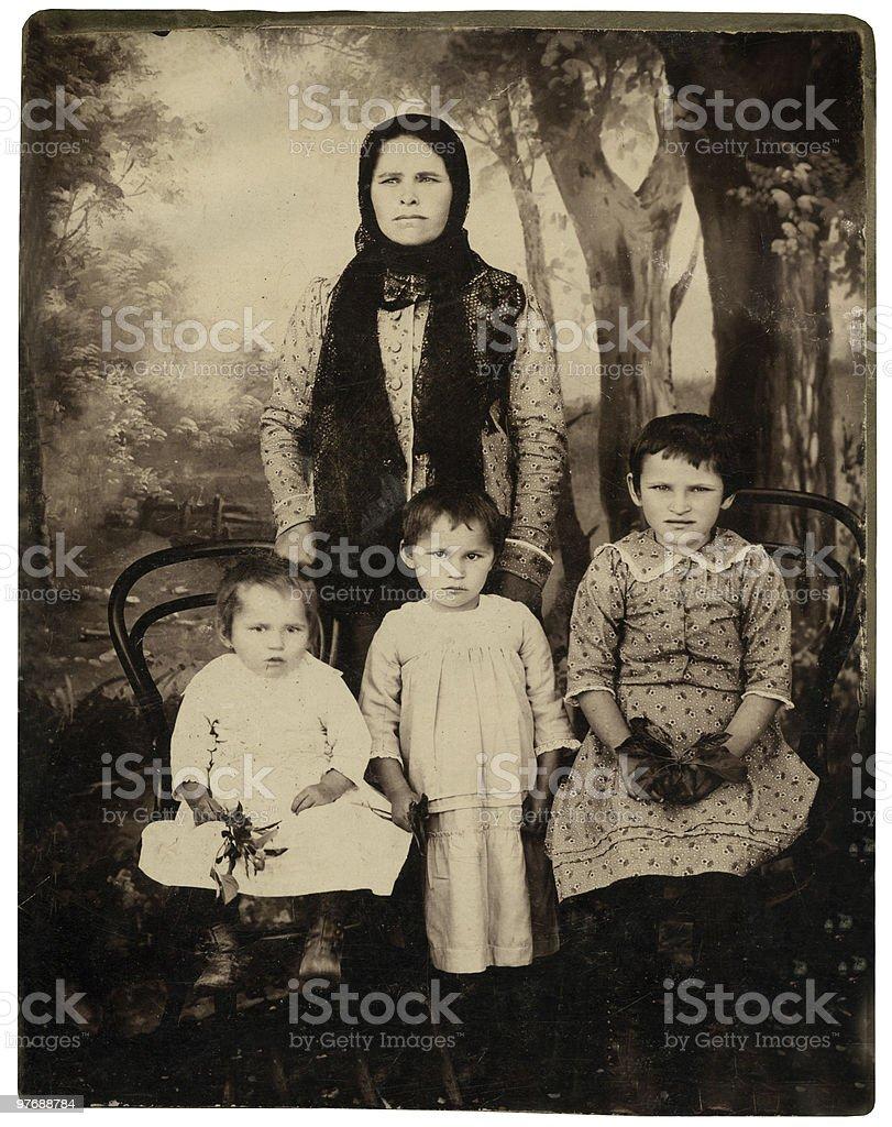 Vintage family portrait. stock photo