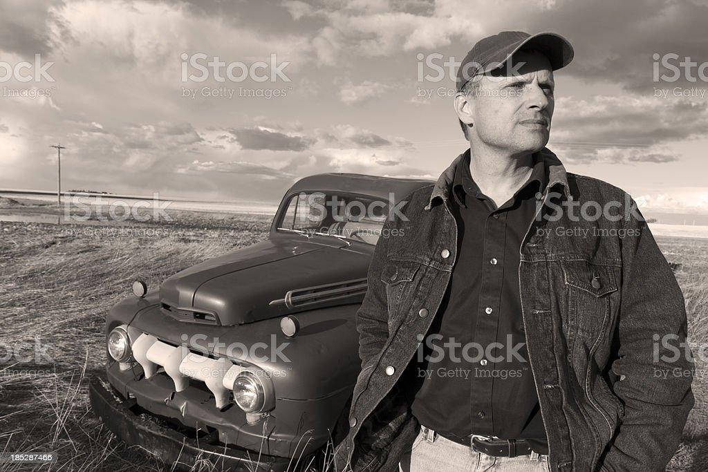 Vintage Farmer and Truck stock photo