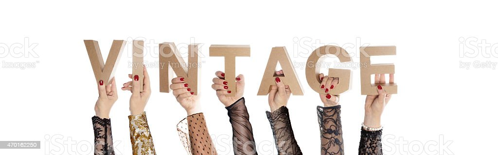 Vintage fashionable hands stock photo