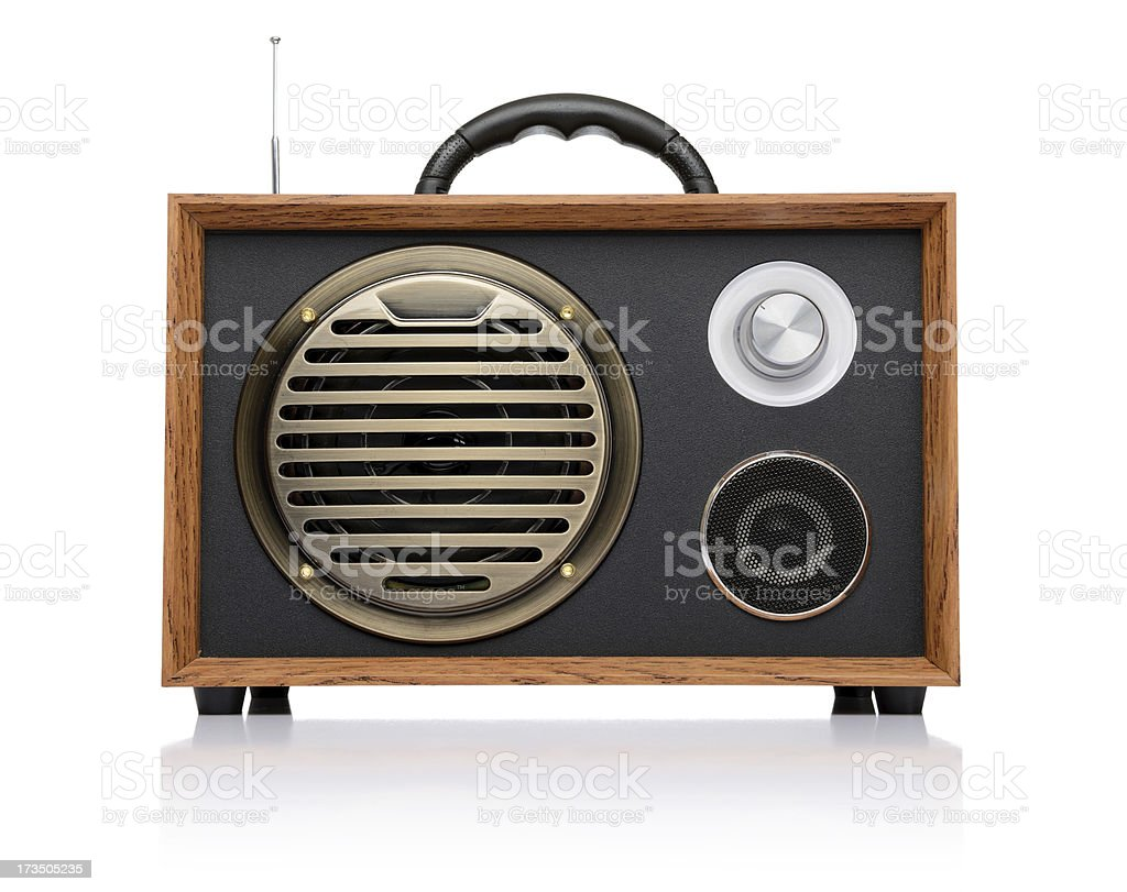 Vintage fashioned radio isolated on white background royalty-free stock photo