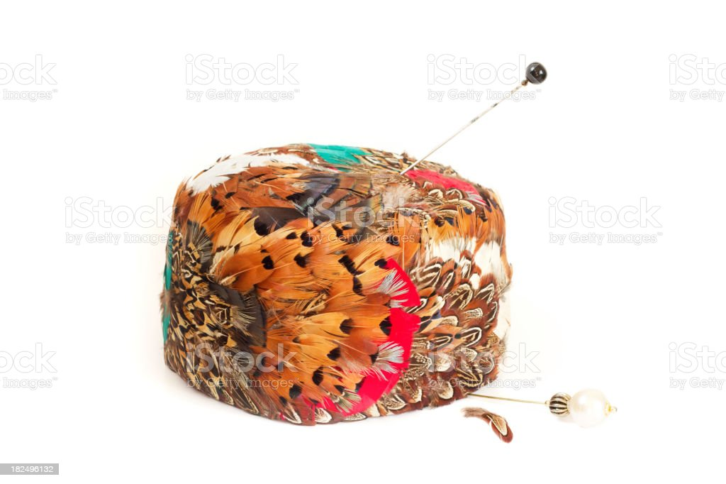 Vintage Feather Hat with Hatpins stock photo