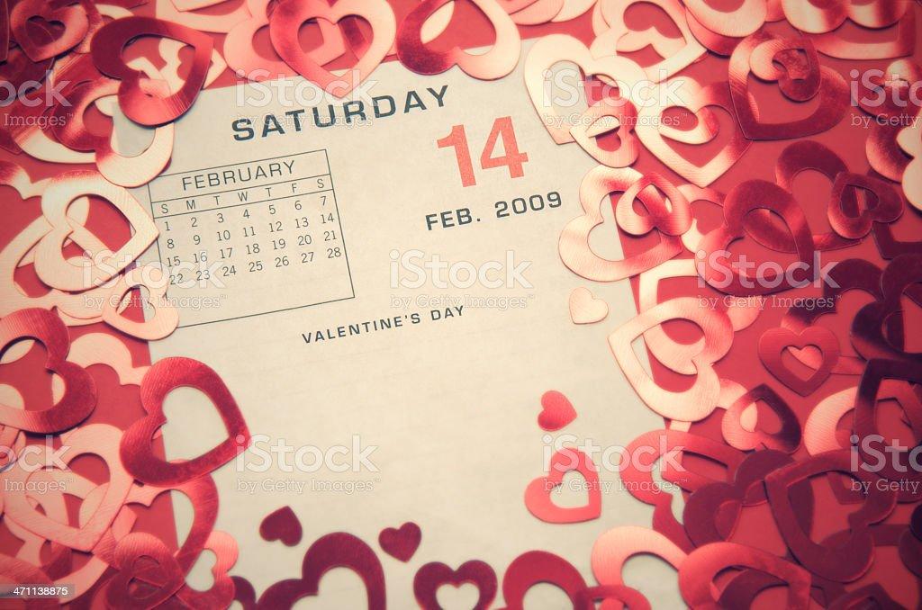 Vintage February 14 Valentine's Day Calendar stock photo