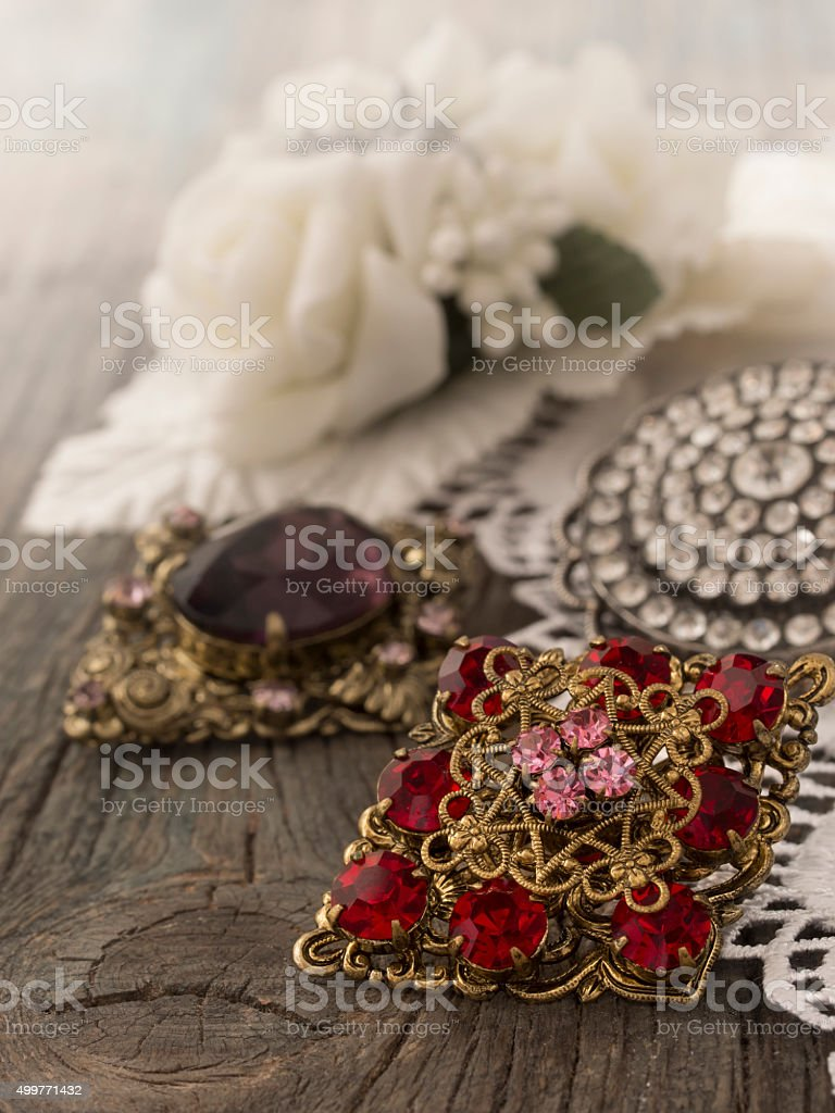 vintage female accessories stock photo