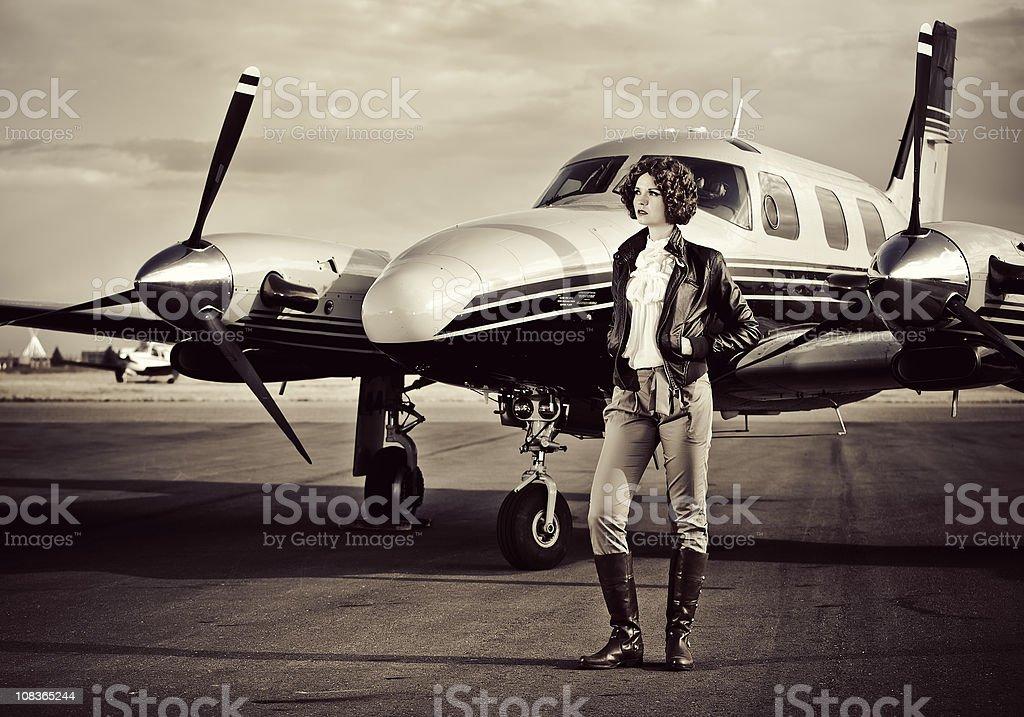 Vintage Female Pilot royalty-free stock photo