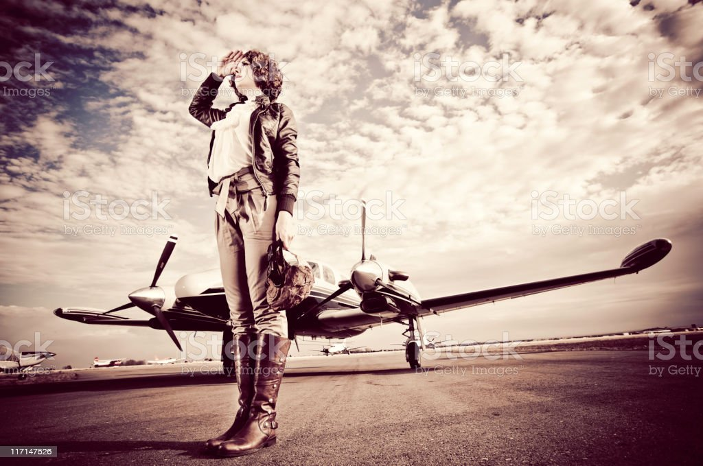 Vintage Female Pilot stock photo