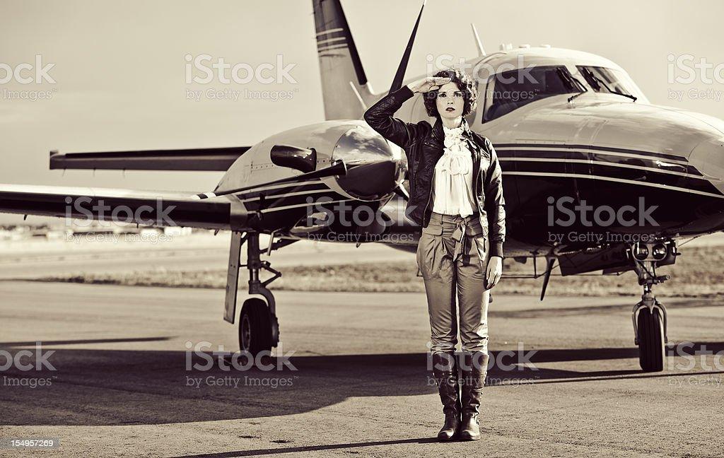 Vintage Female Pilot stock photo