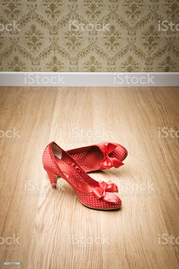 Vintage female shoes stock photo