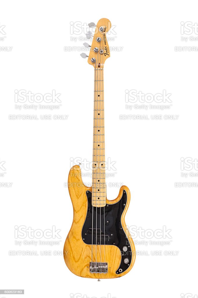 Vintage Fender Precission Electric Bass Guitar stock photo