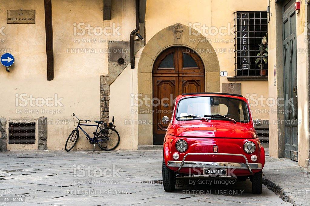 Vintage Fiat 500L parked stock photo