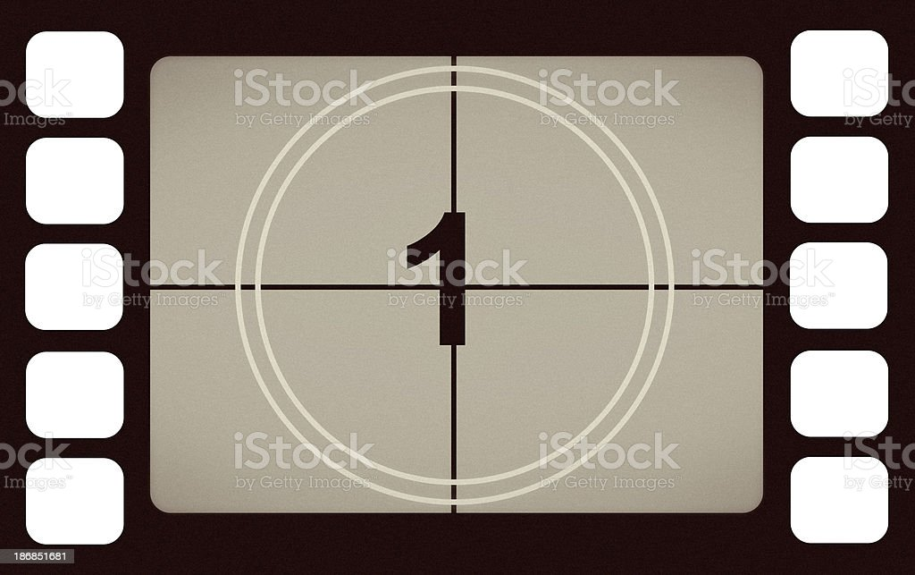 Vintage Film Leader Count Number 1 One royalty-free stock photo