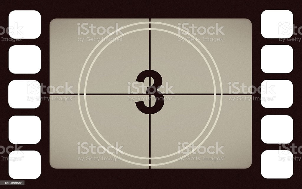 Vintage Film Leader Count Number 3 Three royalty-free stock photo