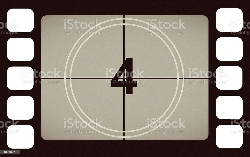 Vintage Film Leader Count Number 4 Four royalty-free stock photo