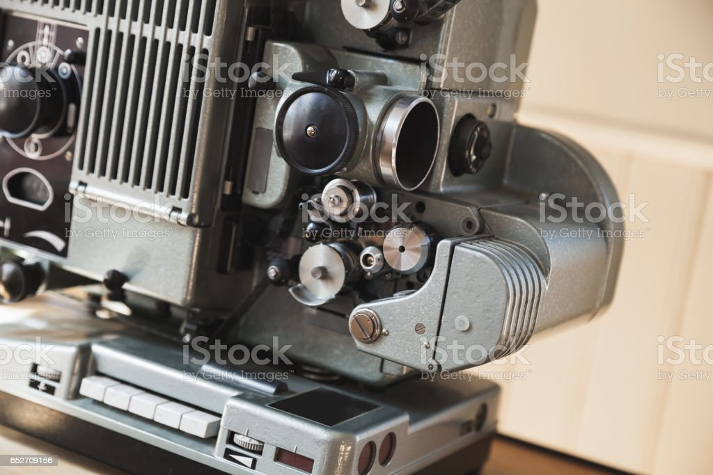 Vintage film projector, close up photo stock photo