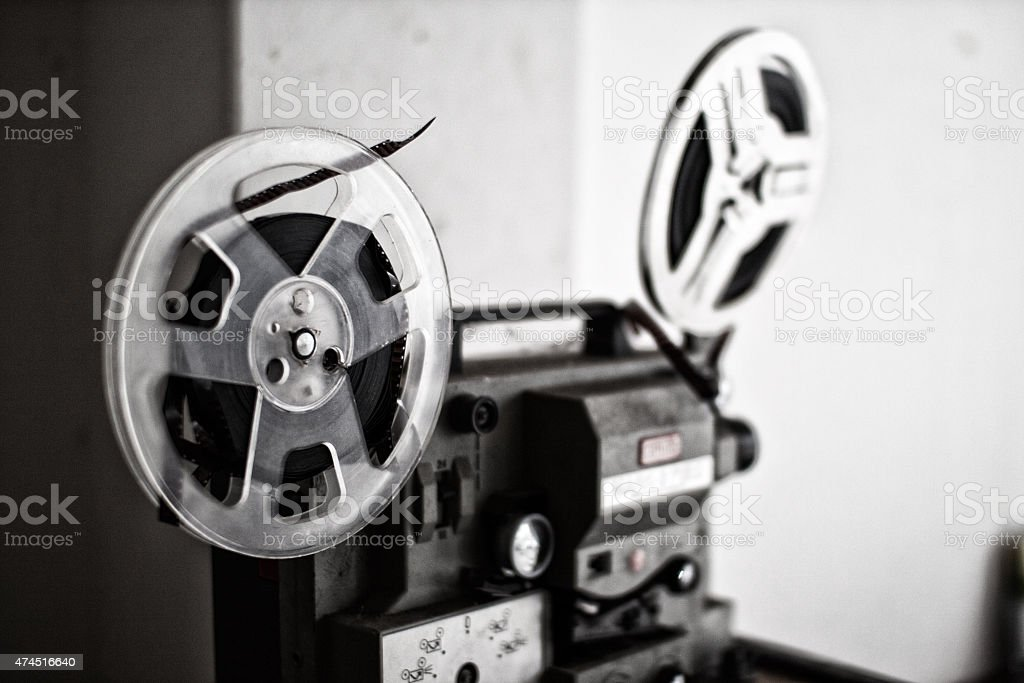 Vintage film projector with light. stock photo
