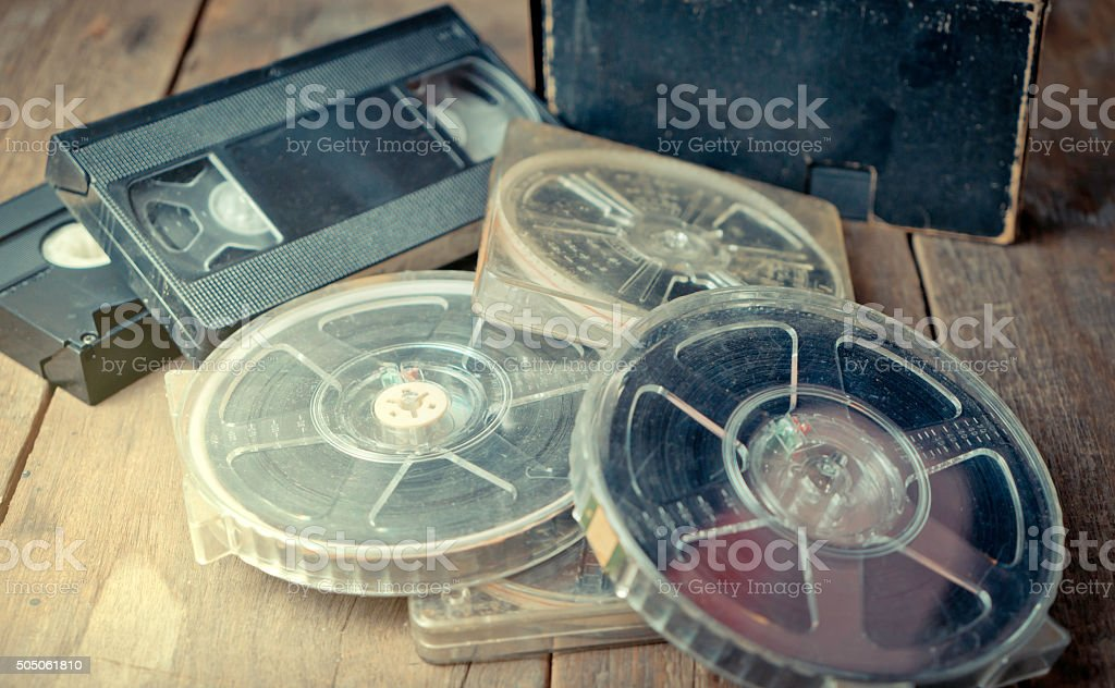 vintage Film Reel and Video tape stock photo