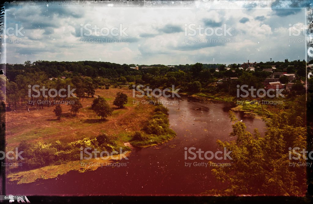Vintage film scan Ukraine landscape light leak design stock photo