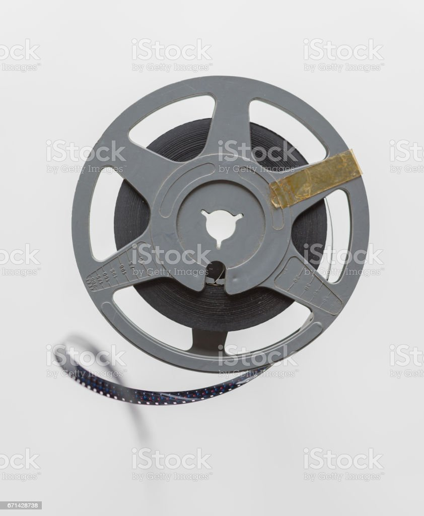 Vintage film spool strip vintage 8 mm isolated on white stock photo