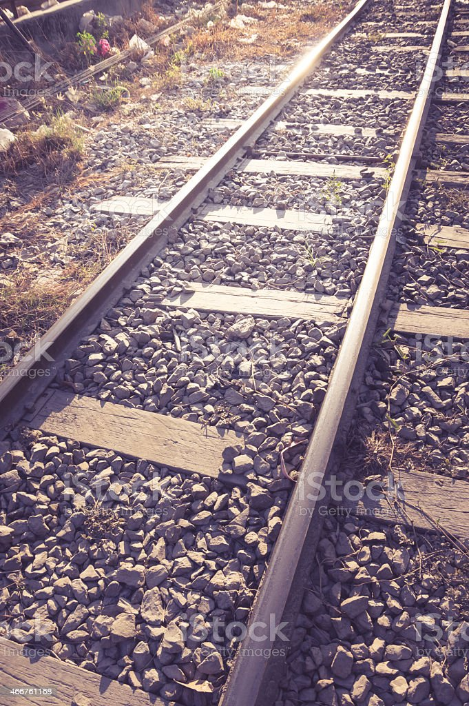 Vintage filtered of railroad. stock photo