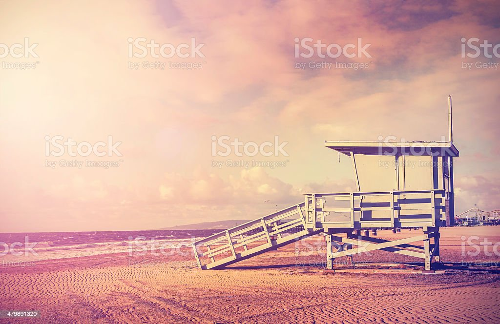 Vintage filtered picture of lifeguard tower, California, USA. stock photo