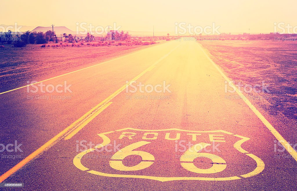 Vintage filtered sunset over Route 66, California, USA. stock photo