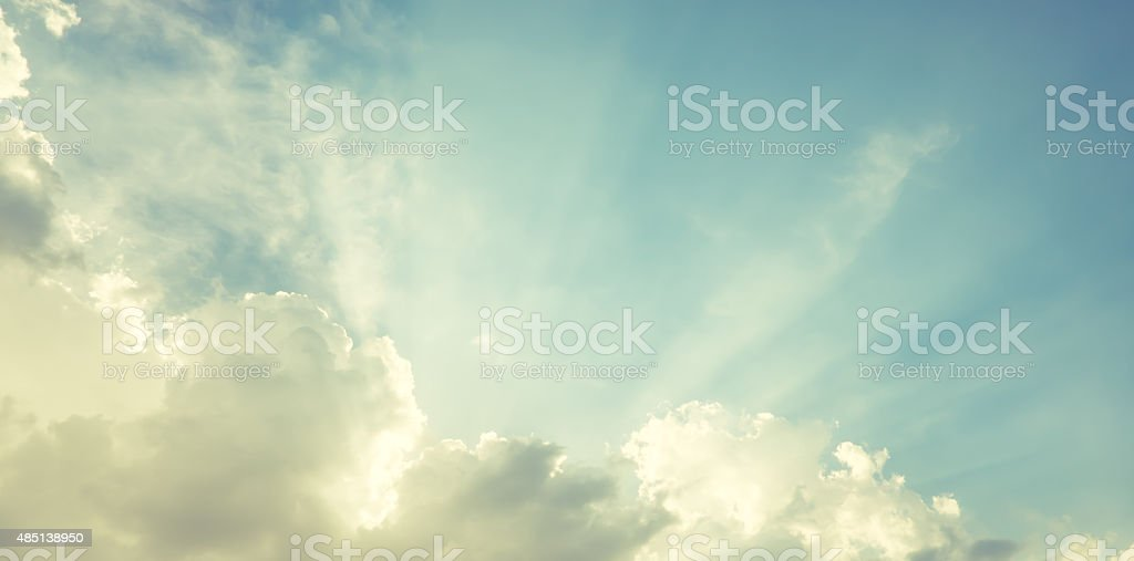 vintage filter:Nice blue sky with sun beam with cloudy, stock photo