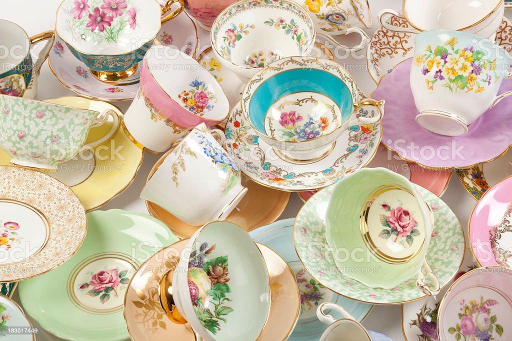 Vintage fine bone china tea cups royalty-free stock photo