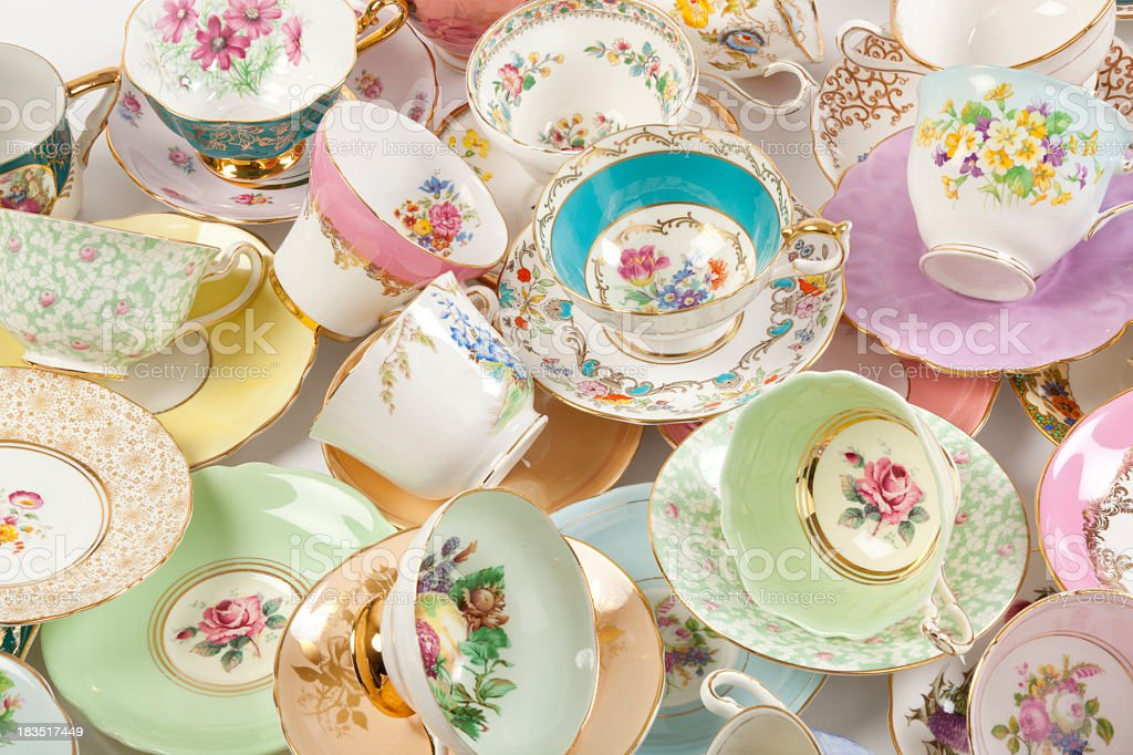 Vintage fine bone china tea cups stock photo