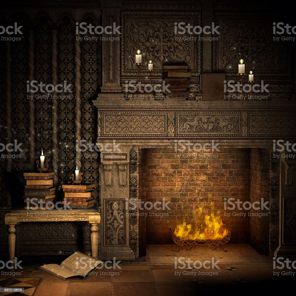 Vintage fireplace with books vector art illustration