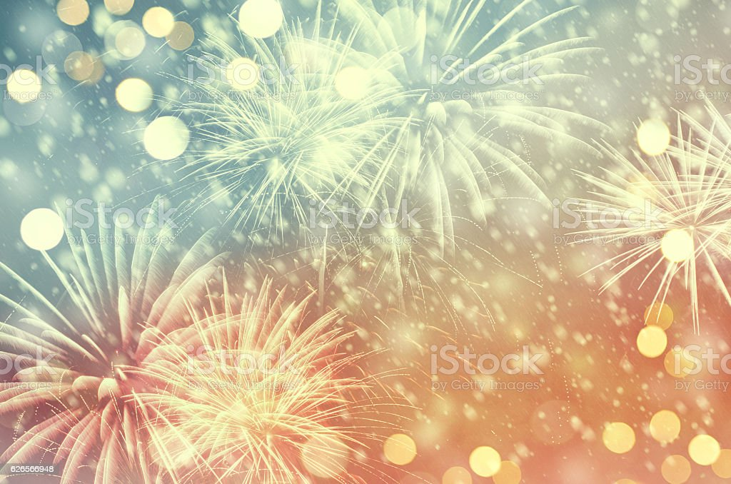 Vintage fireworks at New Year stock photo