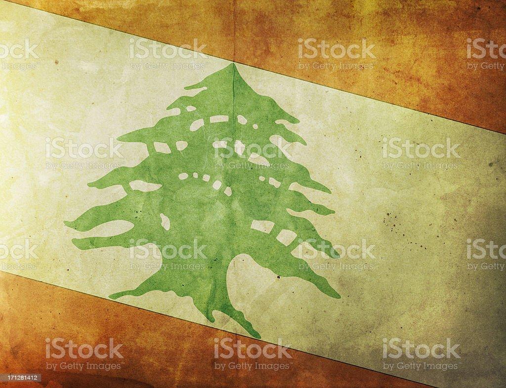 Vintage Flag - Lebanon royalty-free stock photo