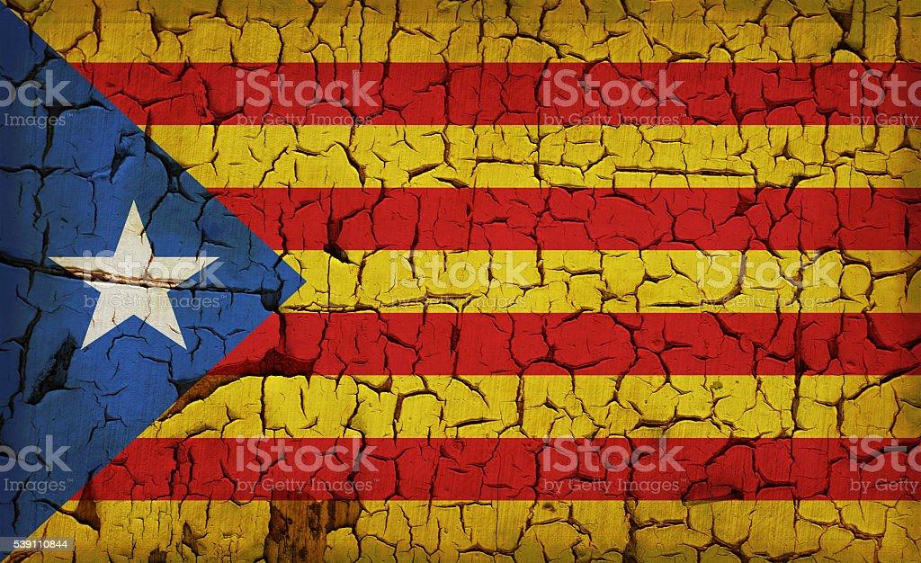 Vintage flag of Catalonia - L'Estelada stock photo