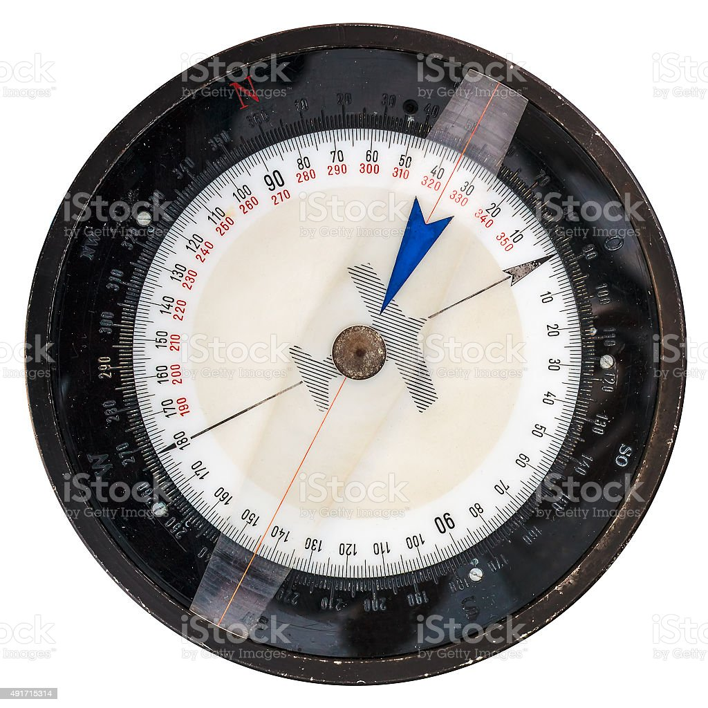 Vintage flight compass isolated on white stock photo