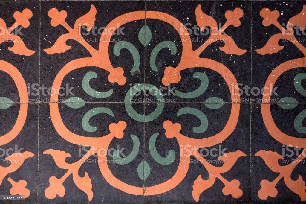 Vintage Floral Pattern floor stock photo