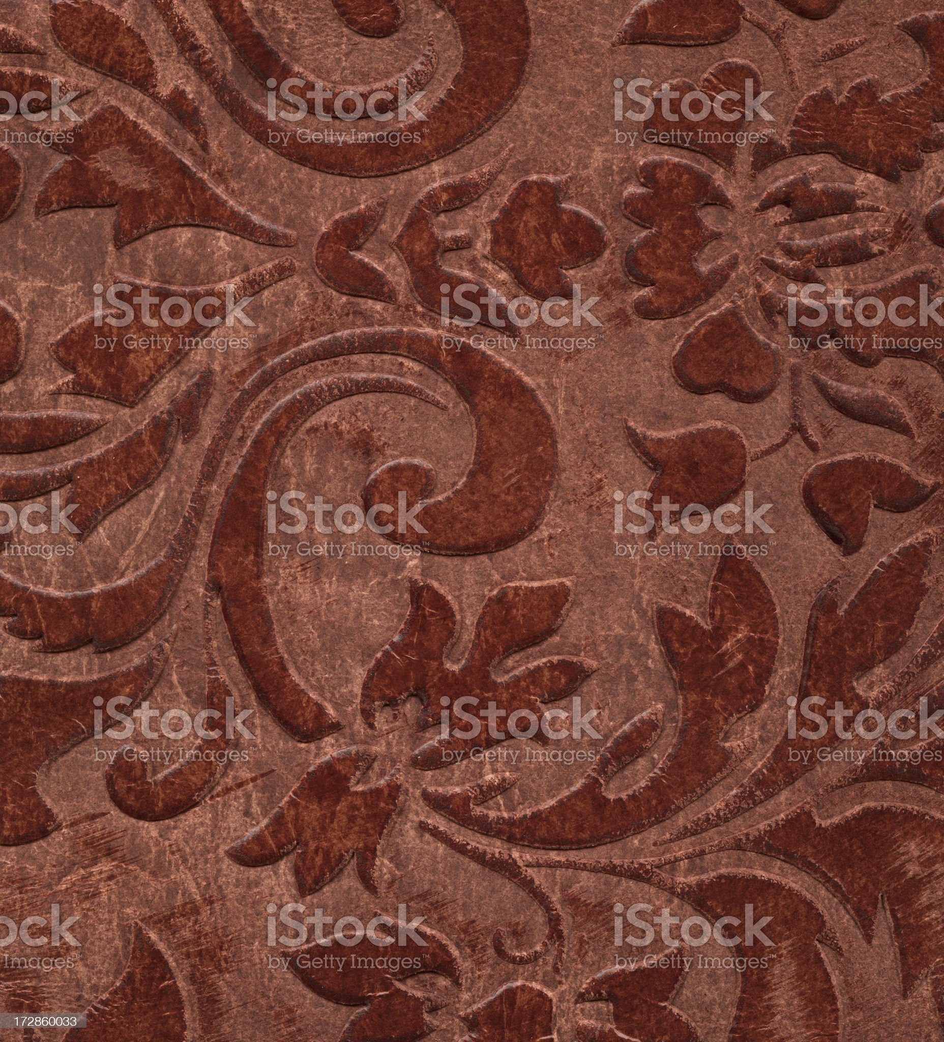 vintage floral pattern on leather royalty-free stock photo