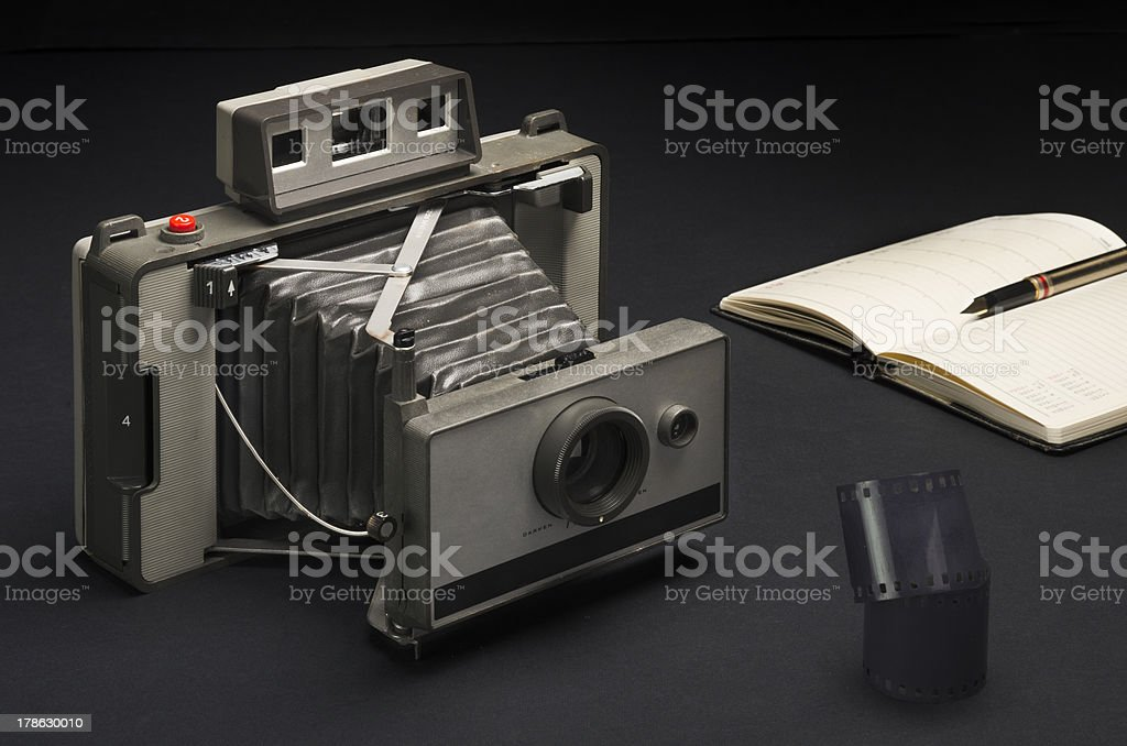 Vintage folding camera stock photo