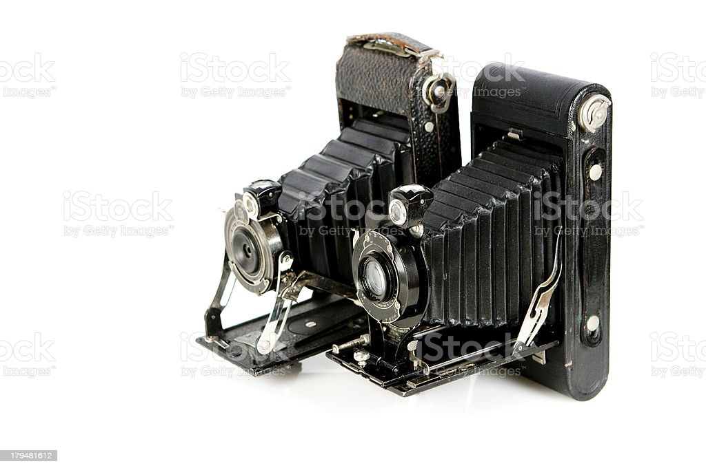 Vintage folding cameras royalty-free stock photo