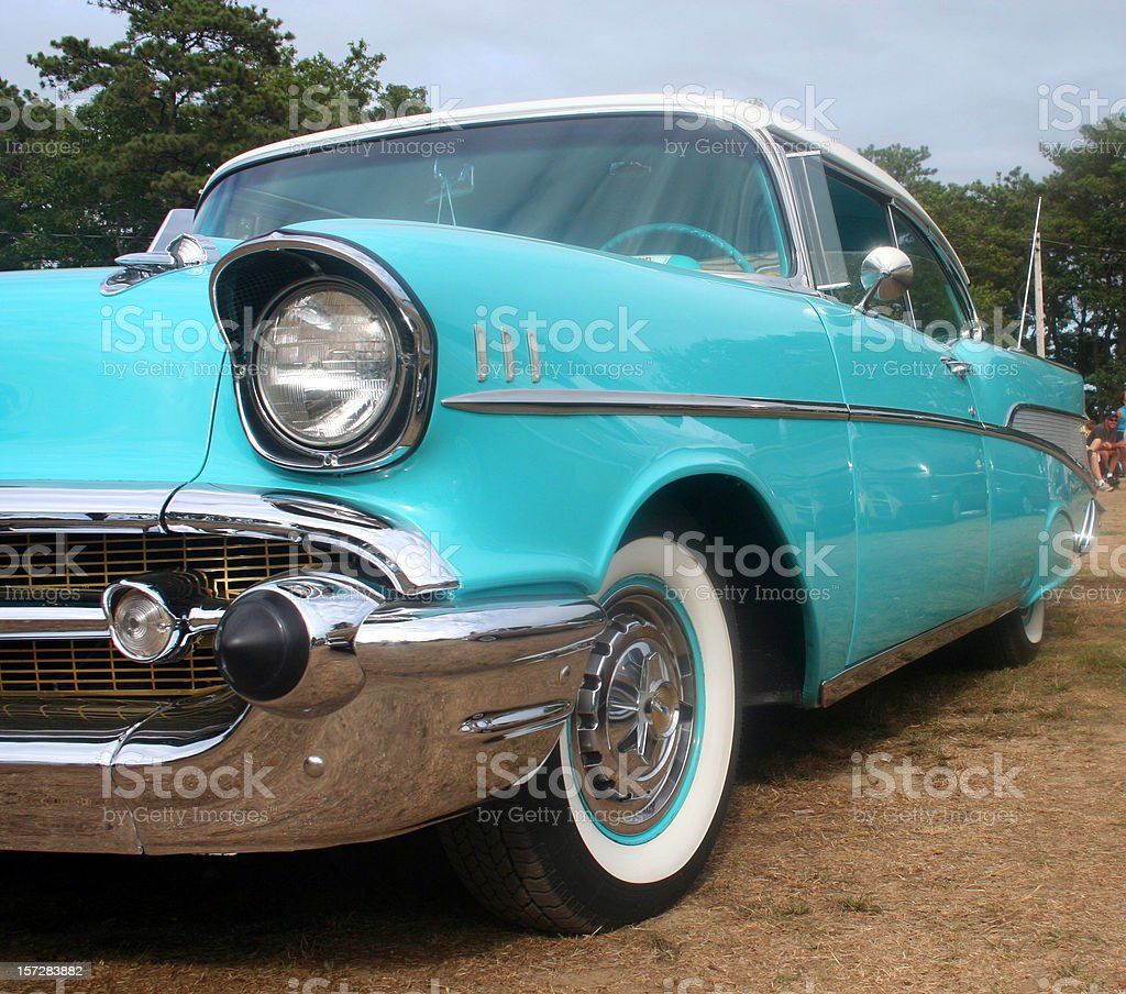 Vintage Ford Car in Light Blue Teal royalty-free stock photo
